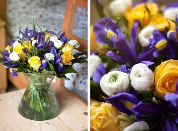 Frühlingsstrauß_ gelben Rosen_ blaue Iris_weiße Ranunkeln_Pistazie_Heidelbeere__