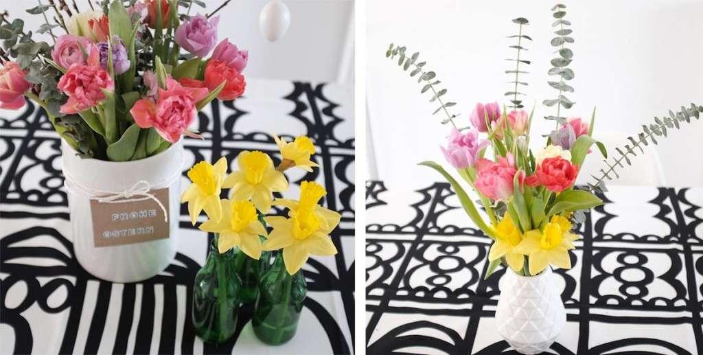 Osterdeko mit Tulpen, Ranunkeln und Narzissen_