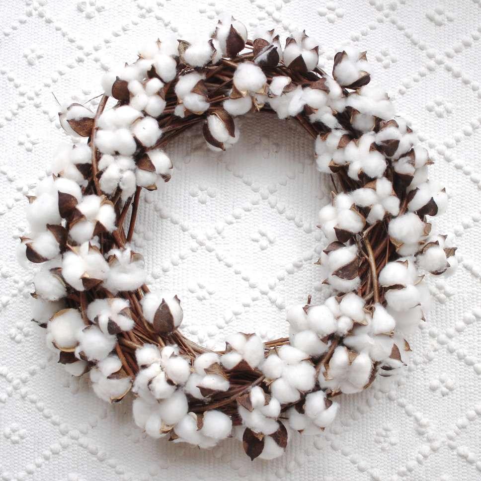 Deko 30 echte Baumwollblüten getrocknet Baumwolle Natur