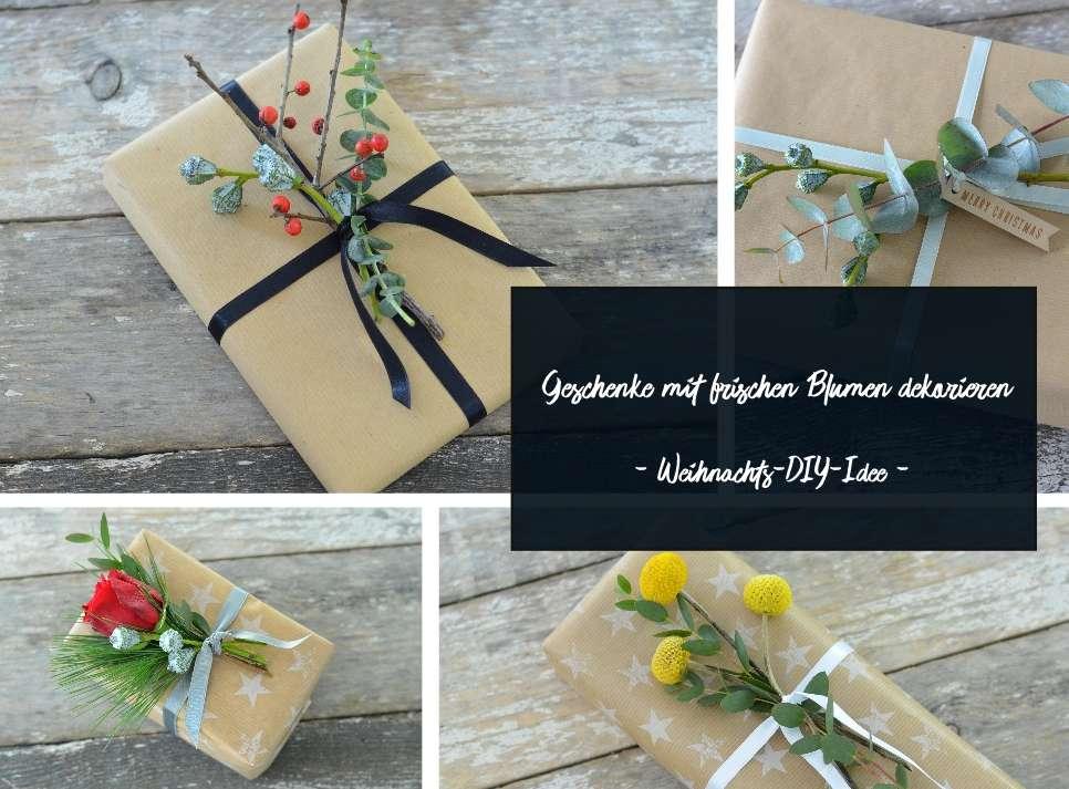 Geschenke mit frischen blumen dekorieren eine diy anleitung f r weihnachten blumigo - Kaseplatte dekorieren anleitung ...