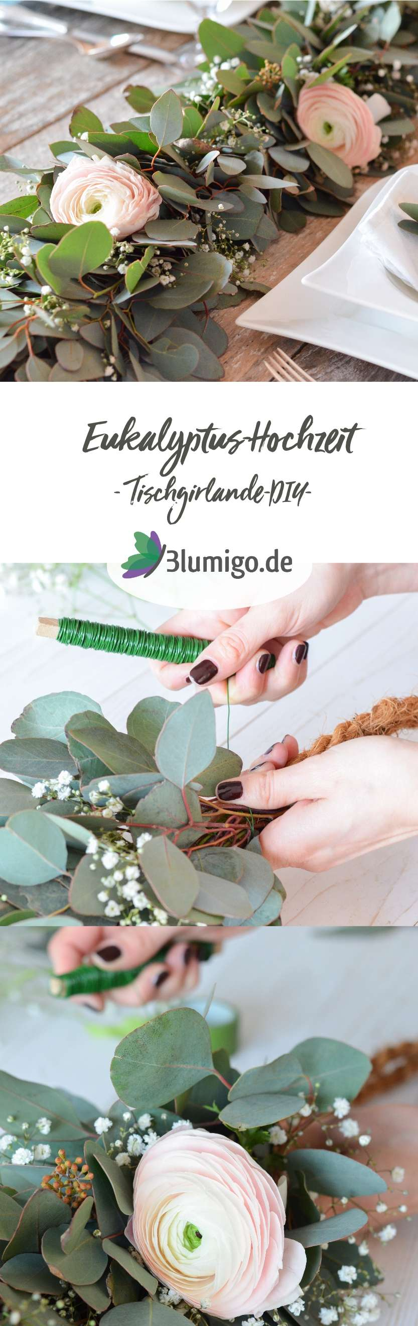 eukalyptus hochzeit teil 2 tischgirlande selber binden blumigo. Black Bedroom Furniture Sets. Home Design Ideas