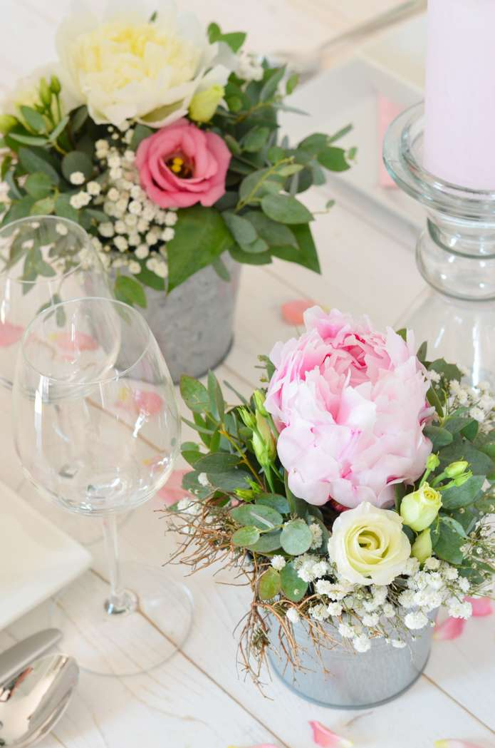 Tischdeko mit pfingstrosen selber machen rosa hochzeit teil 3 blumigo - Pfingstrosen dekoration ...