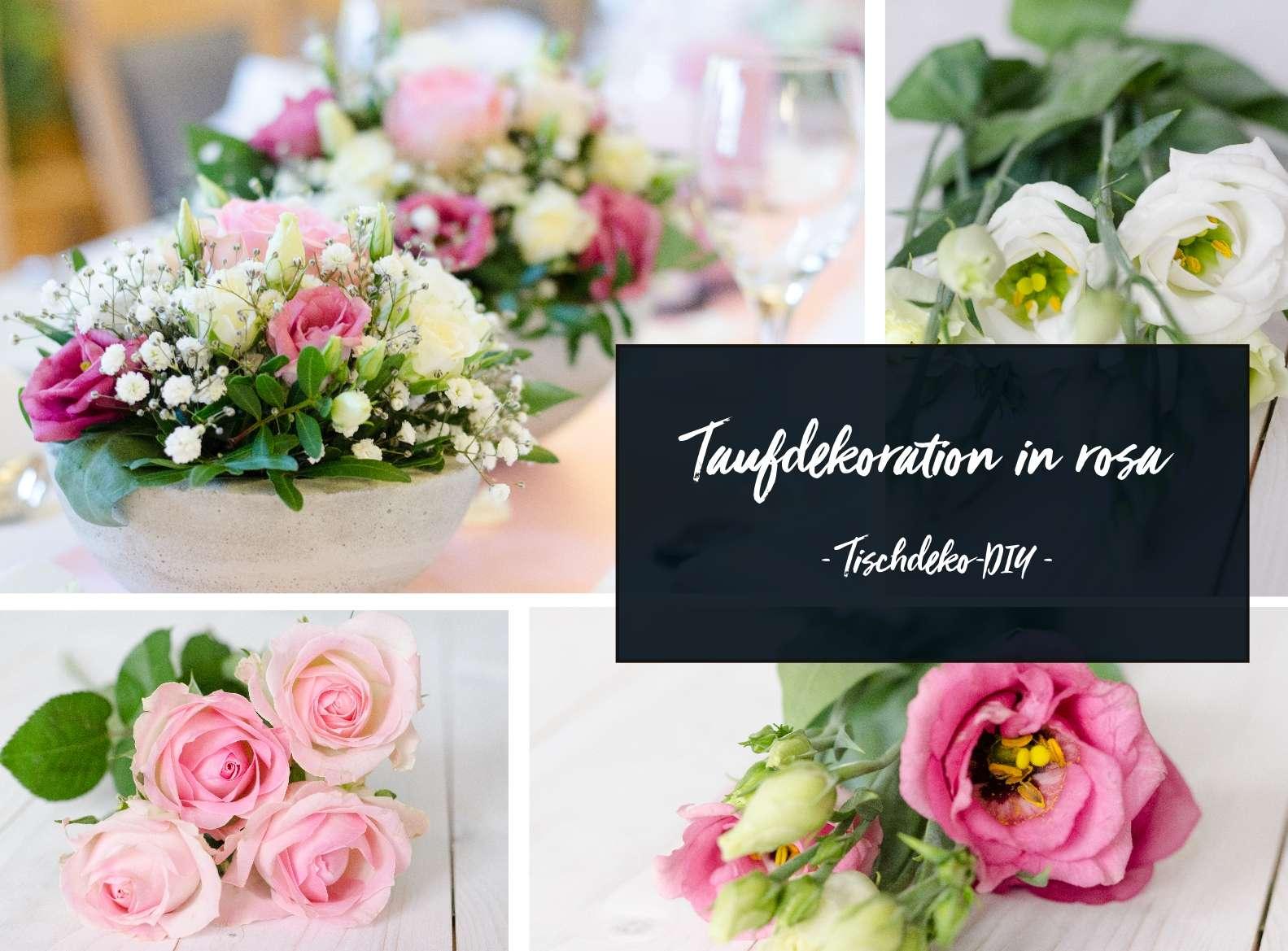 Tischdeko Zur Taufe Selber Machen Gesteck In Rosa Und Weiss Blumigo