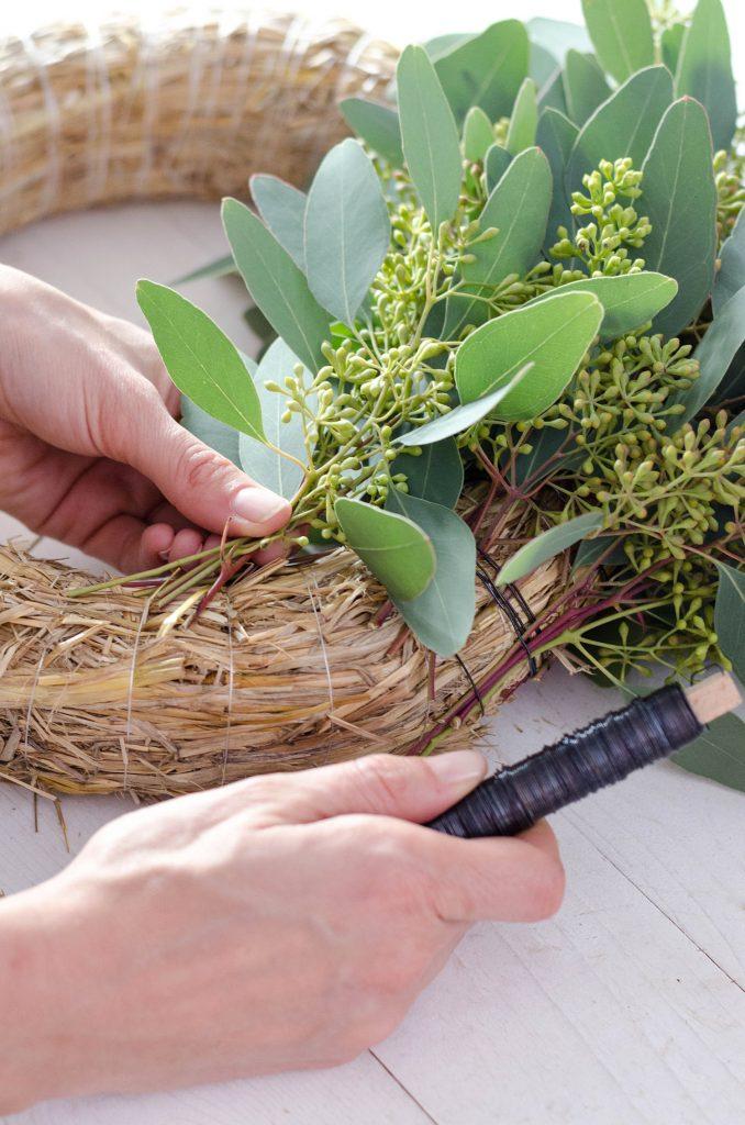 Weitere Eukalyptusbündel an einem Strohrömer befestigen um diesen abzuschliessen