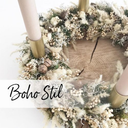 Ein Adventskranz im Boho Stil