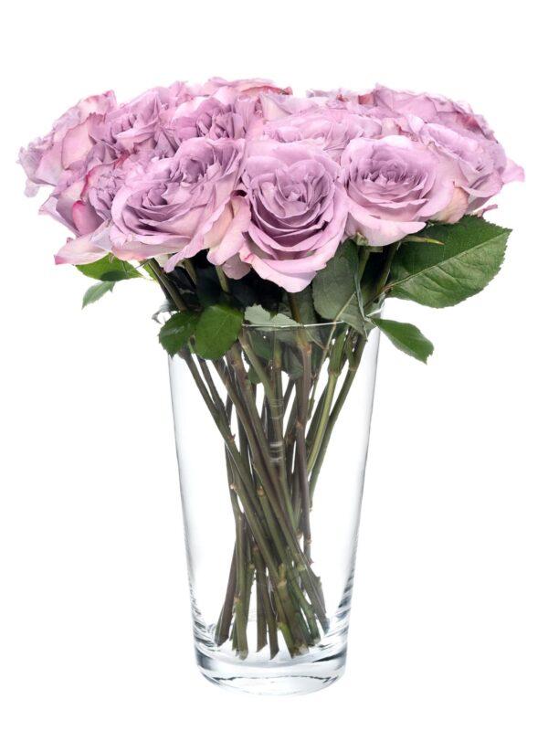 Blumen Glasvase Jasmin 25 cm hoch mit lila Rosen gefüllt