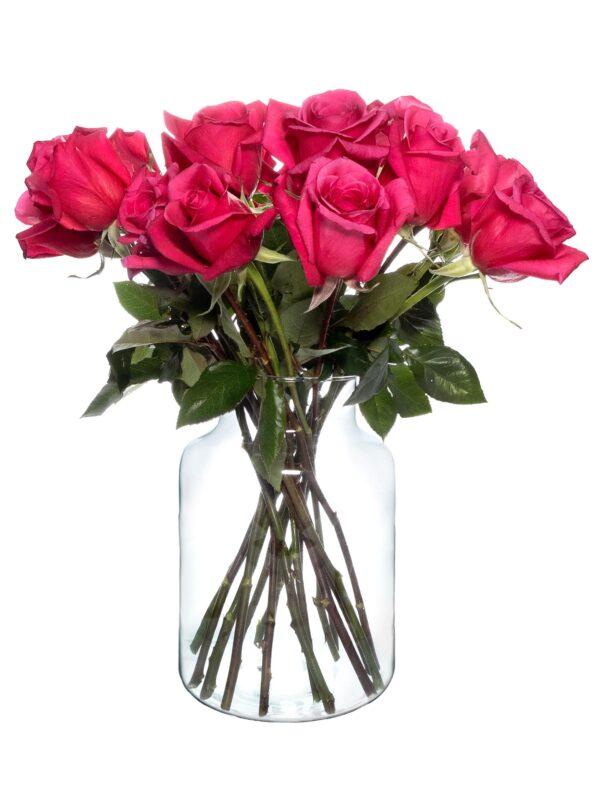 Mit roten Rosen gefüllte Glasvase Vivien 25cm hoch