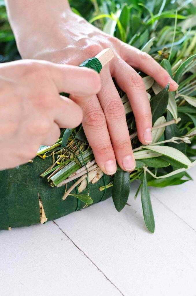 Olivenzweige und Eukalyptus zu Greenery Kranz binden