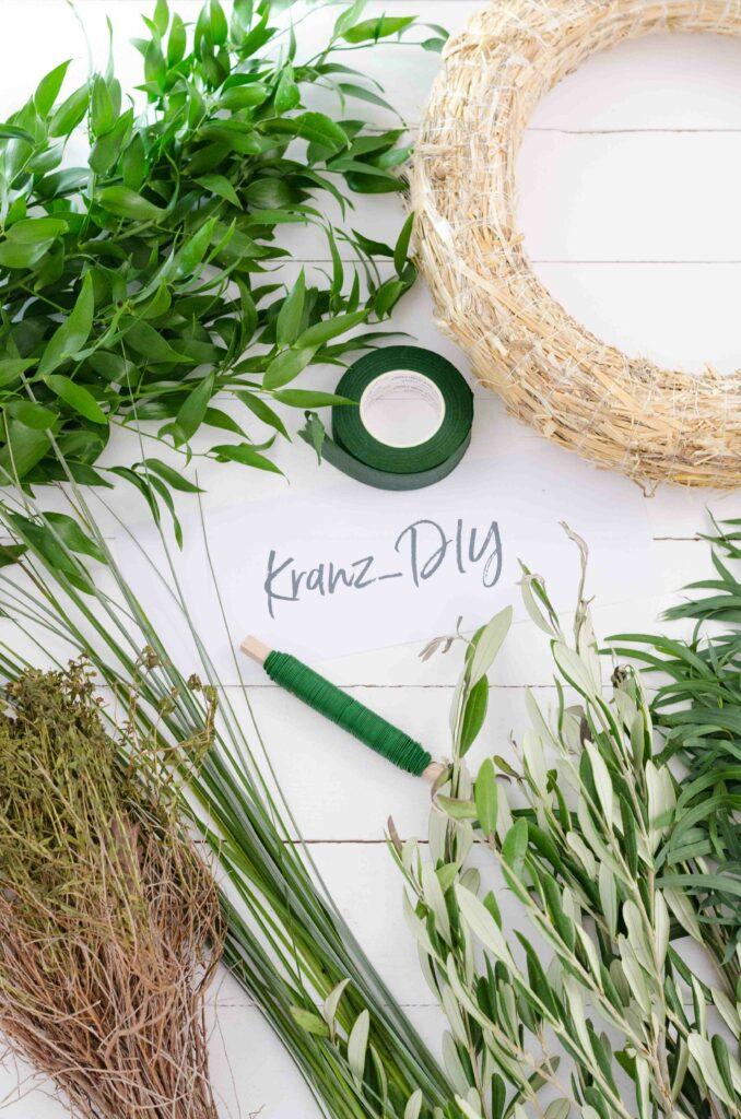 Alle Materialien für DIY Greenery Kranz