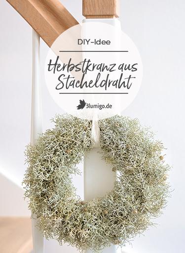 DIY-Idee Stacheldrahtkranz als Herbstdeko