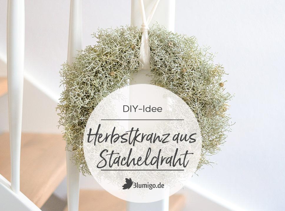 DIY-Idee Stacheldraht Herbstkranz