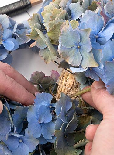 Ende des Hortensienkranzes mit Wickeldraht binden