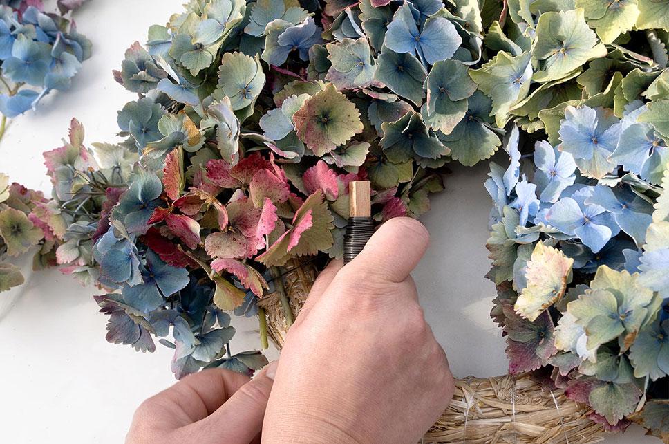 Halbgebundener Hortensienkranz DIY